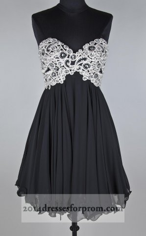 Short Black Lace Embellished Strapless Prom Dresses [little black prom dress] - $154.00 : Cheap Sequin Prom Dresses2014,Online Tailored Prom Dresses Shop,Homecoming Dresses Cheap
