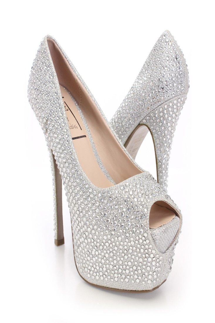 Silver Glitter Rhinestone Platform Pump Heels @ Amiclubwear Heel Shoes online store sales:Stiletto Heel Shoes,High Heel Pumps,Womens High Heel Shoes,Prom Shoes,Summer Shoes,Spring Shoes,Spool Heel,Womens Dress Shoes,Prom Heels,Prom Pumps,High Heel Sandals