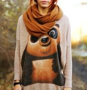 sweater,shirt,pullover,panda,cute,long sleeves,fashion,scarf,kung fu panda,oversized,oversized sweater,pandas printed,cute sweater,warm sweater,knitted sweater,knitwear