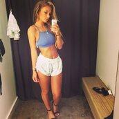 niykee heaton,crop tops,bralette,sandals,clothes,top,t-shirt,shirt,blue shirt,blue,blue crop top,blue top,shorts