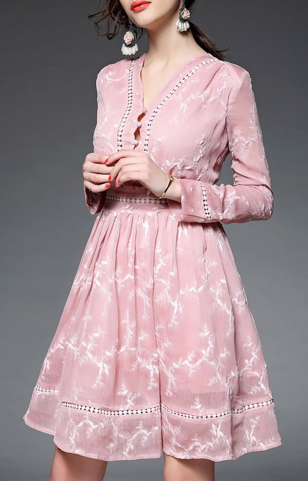 dress pink elegant classy long sleeves fashion style girly feminine summer summer dress dezzal light pink cute spring