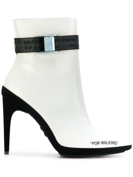 Off-White women boots ankle boots leather white shoes