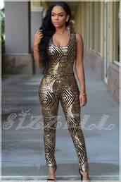 jumpsuit,sequins,bodycon,gold,black,luxury,celebrity style