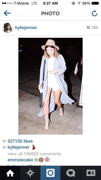 coat kylie jenner instagram blue long coat