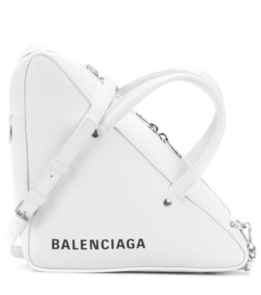 Balenciaga Triangle Duffle leather tote in white