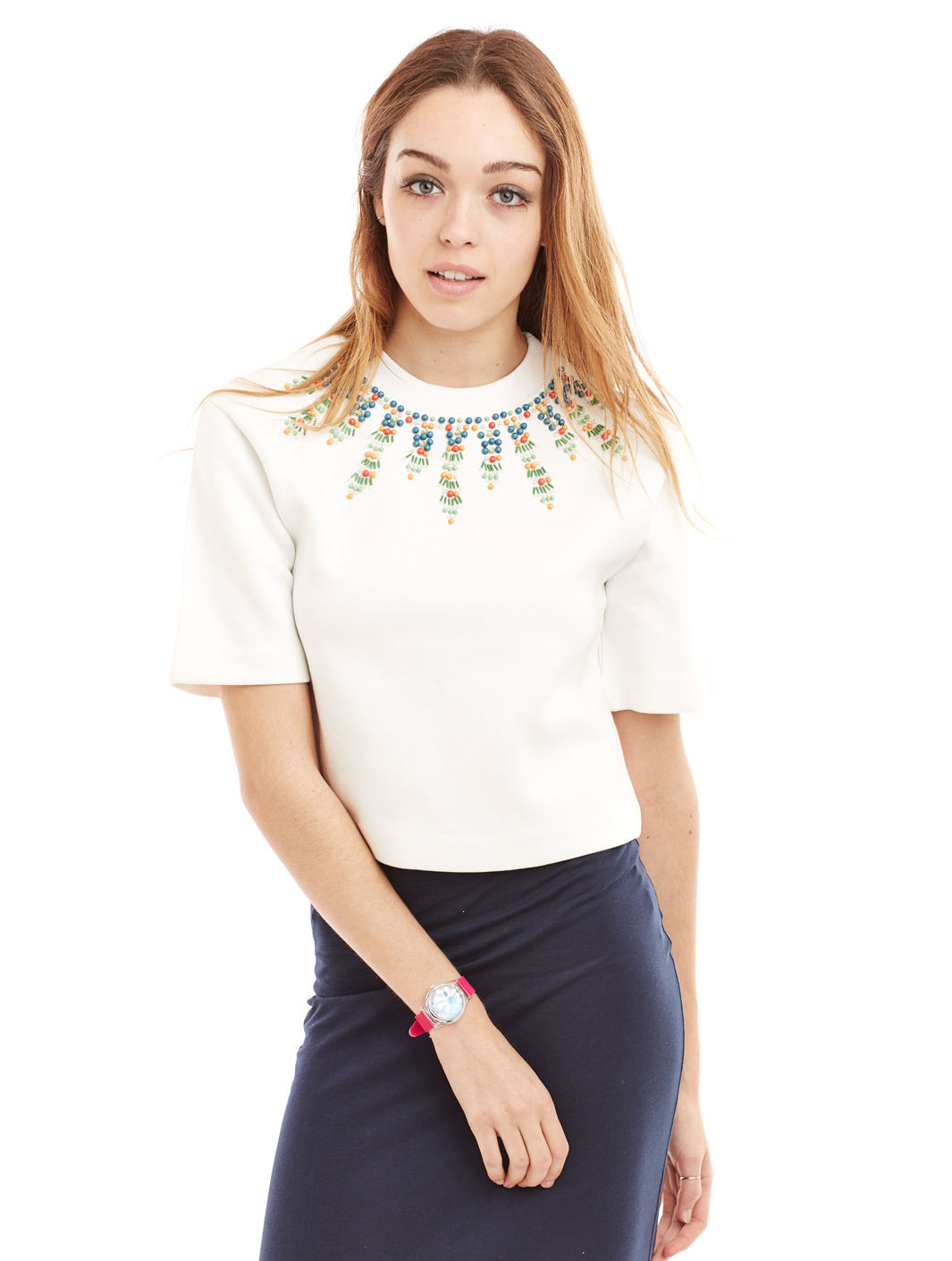Amèle Off White Crop Top - Women's Tops Endless Rose - 44228