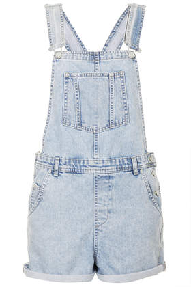 MOTO Short Denim Dungarees - Topshop USA