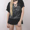 Vintage distressed faded eagle grunge cut out choker t shirt / animal quirky short sleeve graphic retro tee t-shirt large t shirt -s17