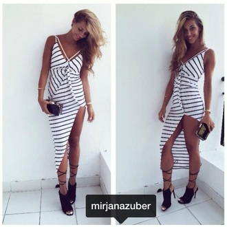 shoes black straps summer dress stripes black and white black and white dress black heels black  high heels