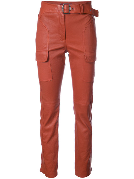 SIES MARJAN pants cargo pants women leather silk yellow orange