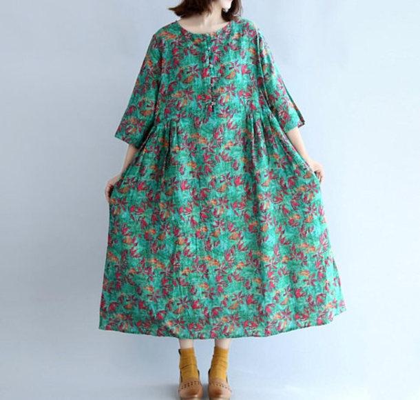 dress green long sundress