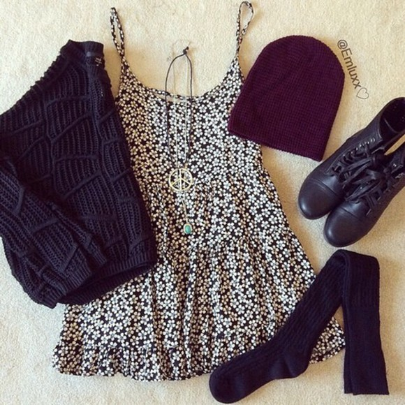 floral dress daisy dress black and white dress fall dress fall outfits