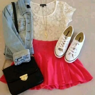 t-shirt white lace top white vans jean jackets red skater skirt