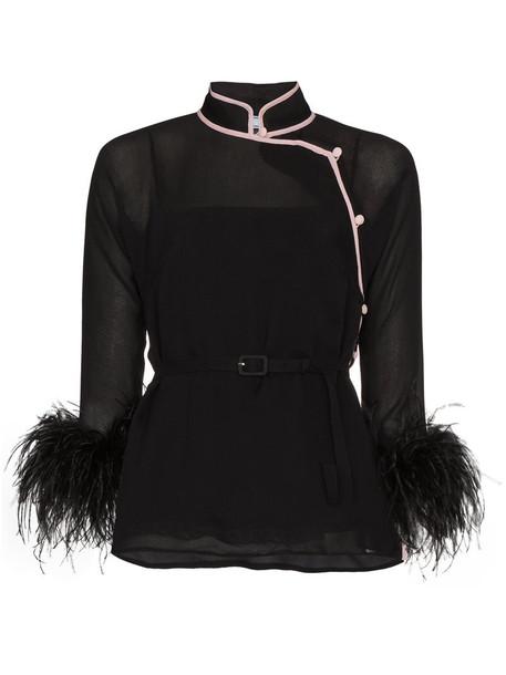 Prada blouse women black silk top