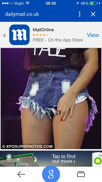 shorts blue denim tassel shortts vanessa white