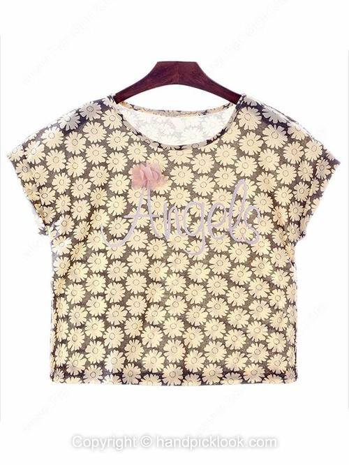 Black Round Neck Cap Sleeve Floral Print Crop T-Shirt - HandpickLook.com