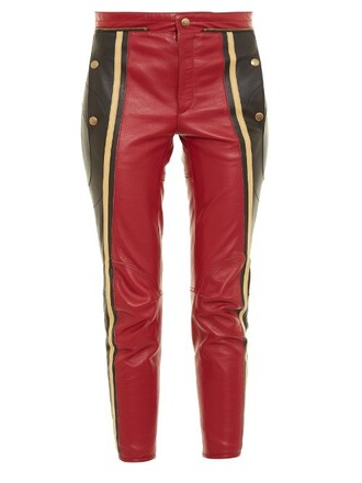 cropped leather red pants
