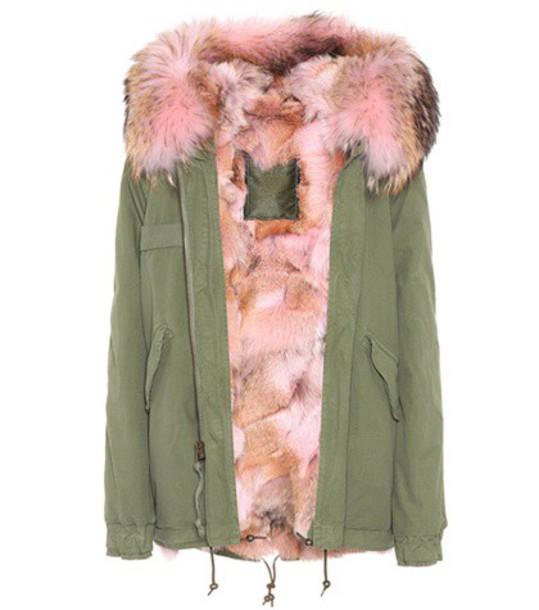 Mr & Mrs Italy parka fur cotton green coat