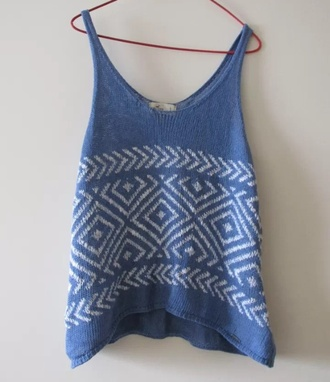 top knit vest blue and white surf beach knitwear knitted cardigan knitted vintage knitted top blue strappy