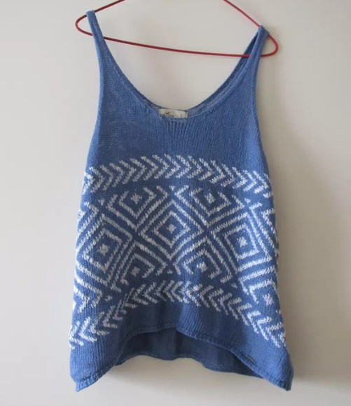 top blue and white vest surfer beach knitwear knitted cardigan knitted vintage knitted top blue strappy
