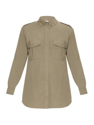 shirt silk khaki top
