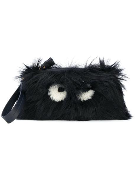 fur women clutch blue bag