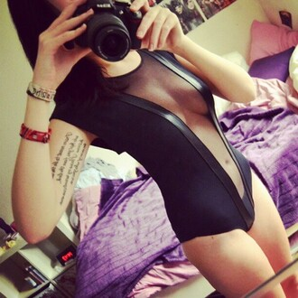 tank top body bodysuit black bodysuit transparent sexy black leotard