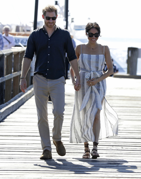 dress sandals meghan markle summer dress stripes striped dress celebrity slit dress