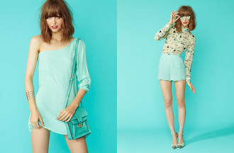 dress shorts shoes blouse sunglasses blue monochrome nastygal mint one shoulder tap shorts printed blouse heels