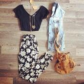 pants,bag,t-shirt,floral pants,crop tops,fancy pants,jean vest,gold jewelry,pink,skinny pants,black,floral,joggers pants,black and white