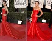 dress,eva l,red dress,fancy dress,long gown,eva longoria,special occasion,prom,golden globes,Golden Globes 2015,golden globe dress,mermaid prom dress,long prom dress,prom gown,red prom dress,sweetheart neckline