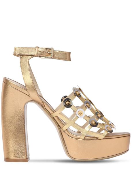 ERNESTO ESPOSITO 125mm Cage Metallic Leather Sandals in gold
