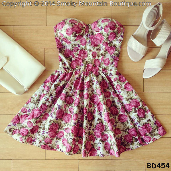 dress roses cute party dress bustier dress floral skater dress shorts