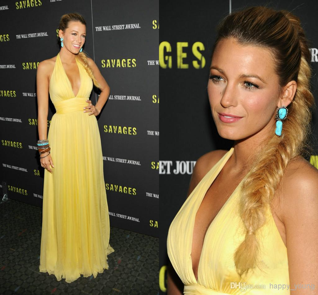 Cheap Prom Dresses 2015 - Discount Sexy V Neck Yellow Chiffon Ruched Backless Prom Online with $80.05/Piece   DHgate