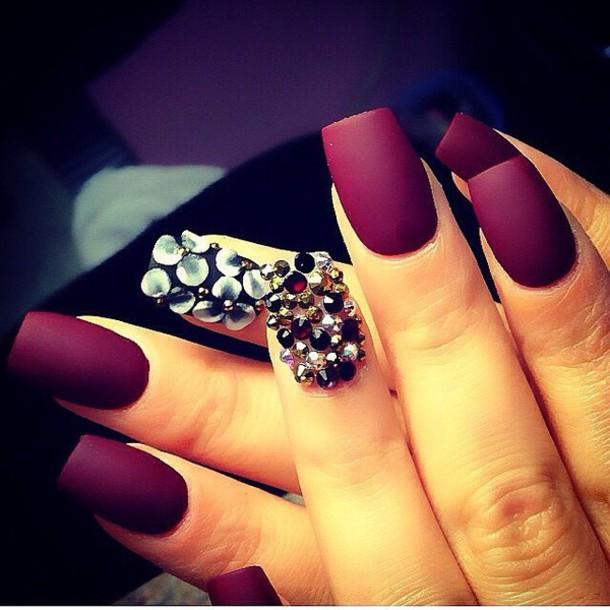 nail polish, nails, nail art, diamonds, classy, burgundy, purple ...