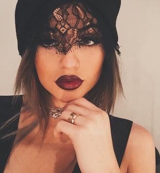 hat black laced headpiece