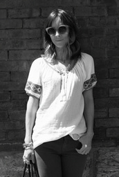 lucy laucht,shirt,pants,jewels,sunglasses,embroidered shirt