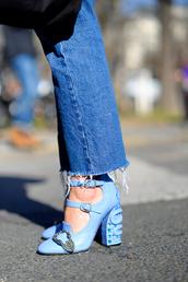shoes,tumblr,blue shoes,pumps,high heels,pilgrim shoes,buckles,denim,jeans,blue jeans