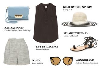 von vogue blogger bag top shorts hat shoes sunglasses