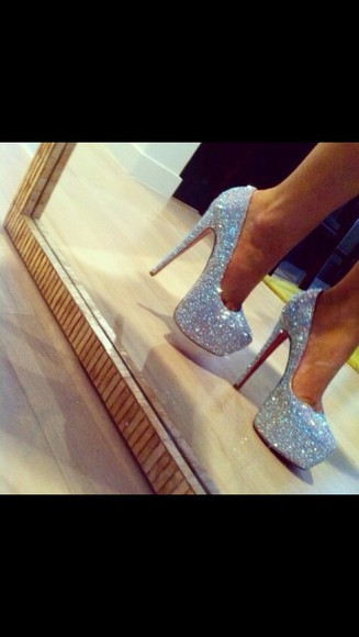 silver shoes prom shoes sparkly high heels