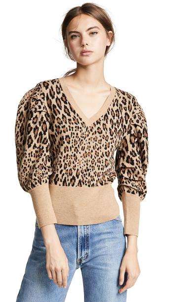 FRAME Full V Neck Sweater in camel / multi