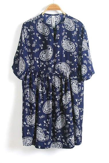 Vintage Paisley Print Loose Dress
