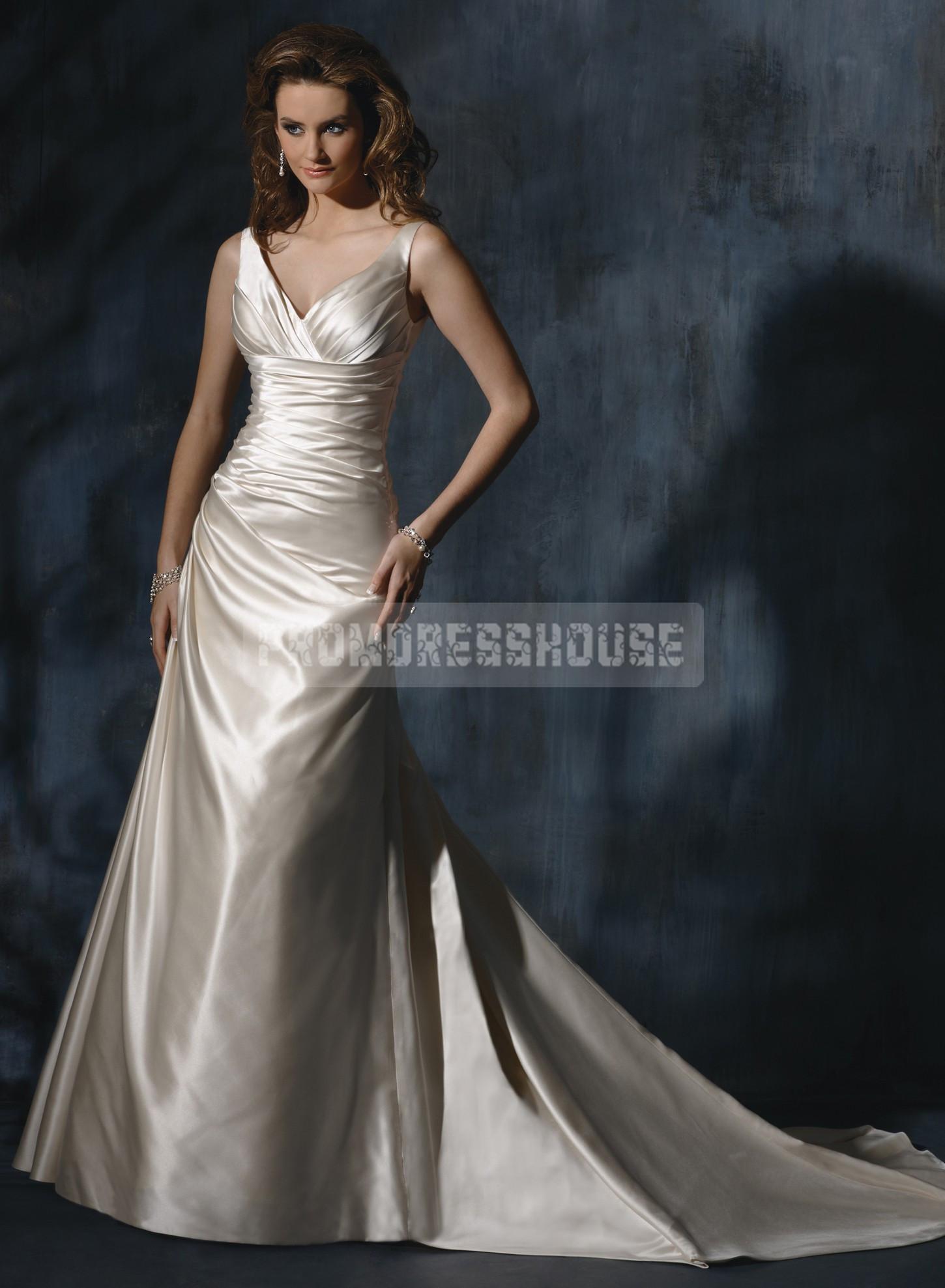 V-neck Chapel Train Ruching Satin Sleeveless Wedding Dress - Promdresshouse.com