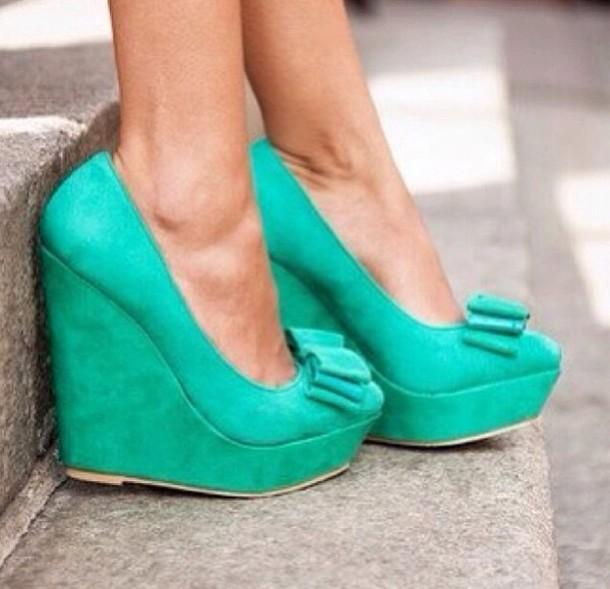 bd038e06d78 shoes wedges high heels emerald green bow dream cute perfect