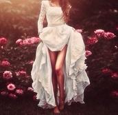 dress,white,beautiful,white dress,maxi dress,long sleeve dress,lace dress,gorgeous,train,hipster wedding,mariage,robe,blanche,dentelle,jupons,magnifiqueeeee,gown,wedding dress,wedding,lace,formal,cotton,sleeves,princess dress,high low dress,vokuhila dress,vokuhila,princess,prom dress,dredd,long dress