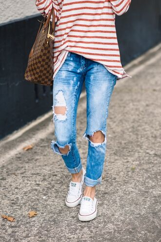 jeans ripped jeans blue jeans casual top tumblr light blue jeans cuffed jeans striped top bag brown bag louis vuitton louis vuitton bag sneakers white sneakers low top sneakers white converse converse