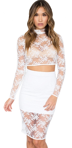 7633547a55 Isabelle White Sheer Mesh Lace Long Sleeve Mock Neck Crop Top ...