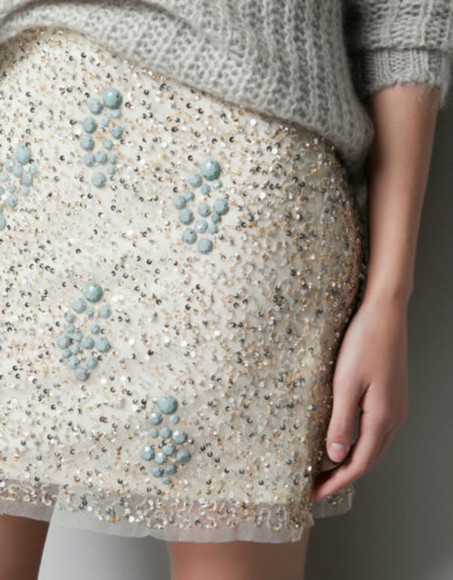 skirt blue blue skirt white gold sequinned