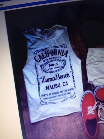california white and black tshirt