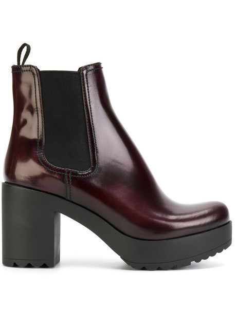 Prada women boots chelsea boots leather red shoes